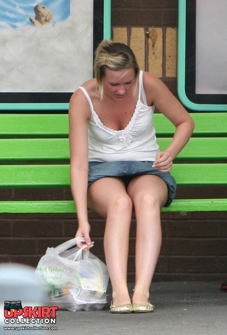 Upskirt At The Bus Stop